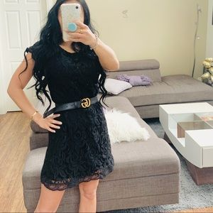 👗 SCOOP BACK BLACK LACE DRESS